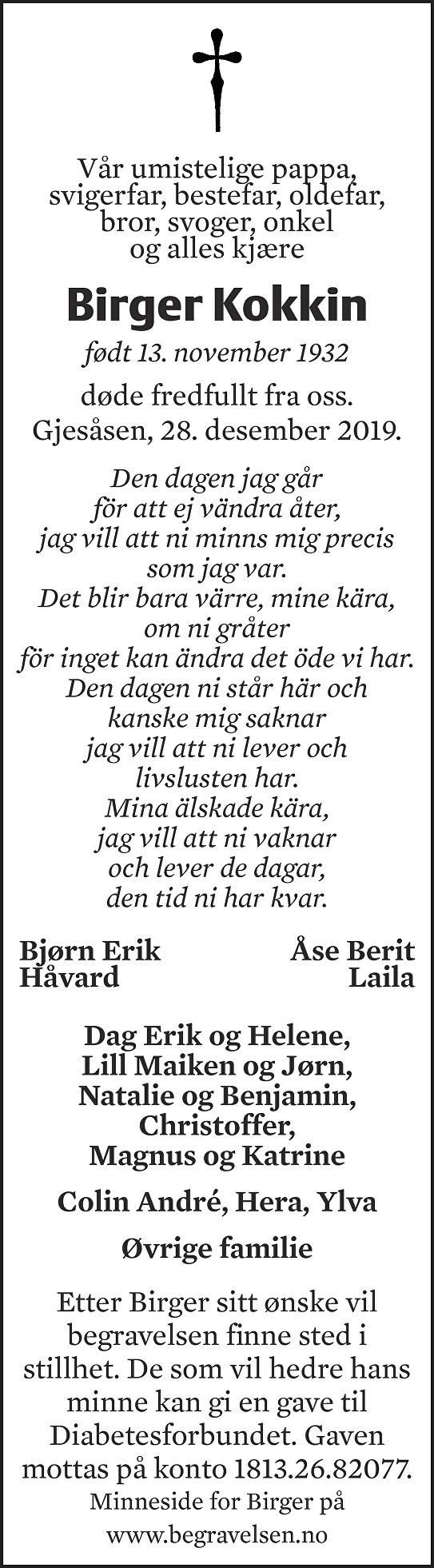 Birger Kokkin Dødsannonse