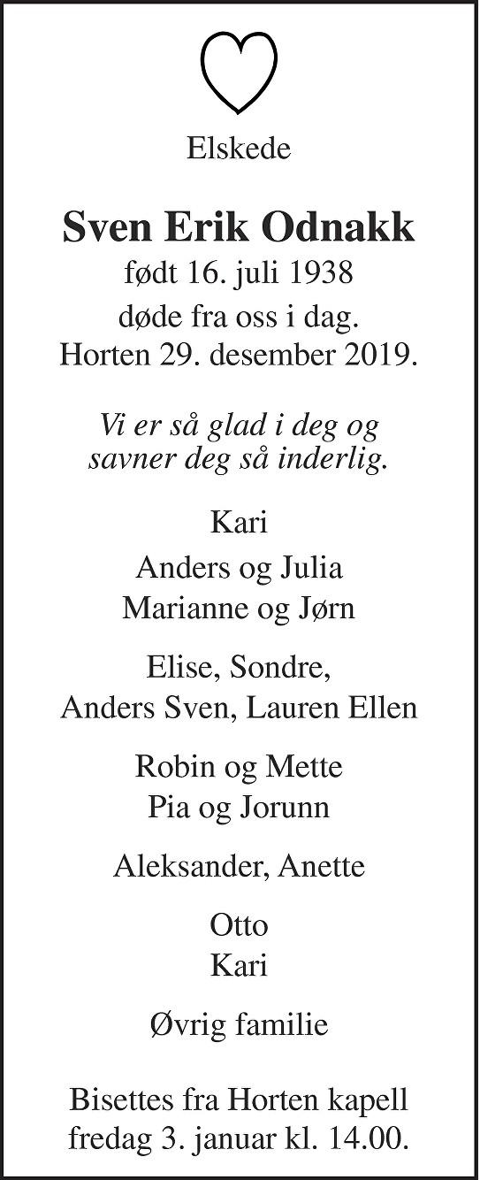 Sven Erik Odnakk Dødsannonse