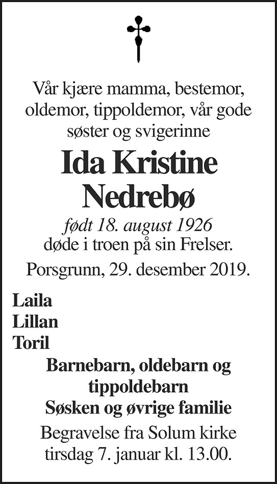 Ida Kristine Nedrebø Dødsannonse