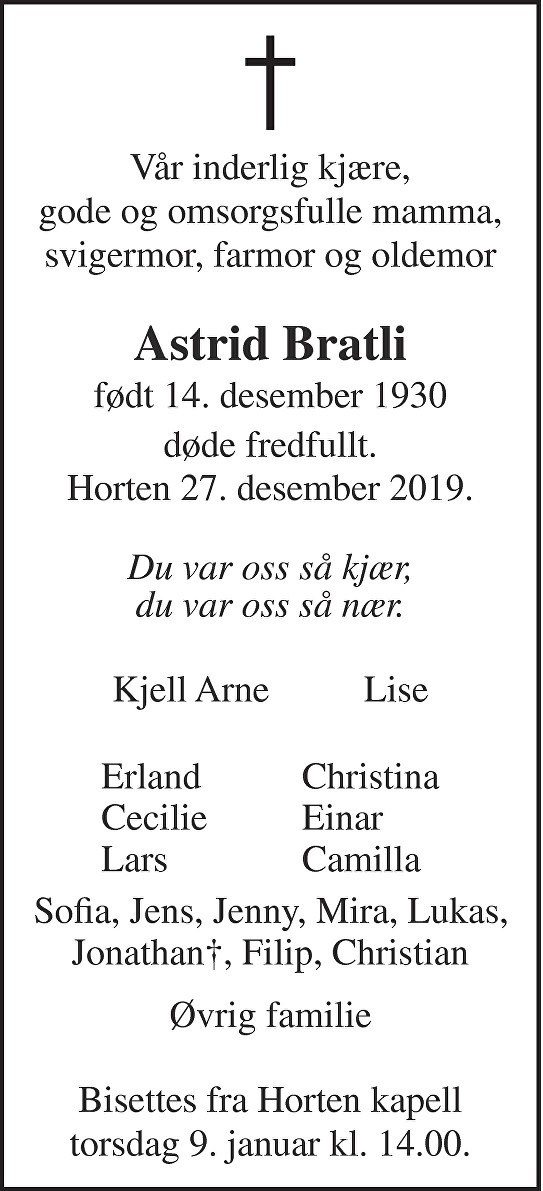 Astrid Bratli Dødsannonse