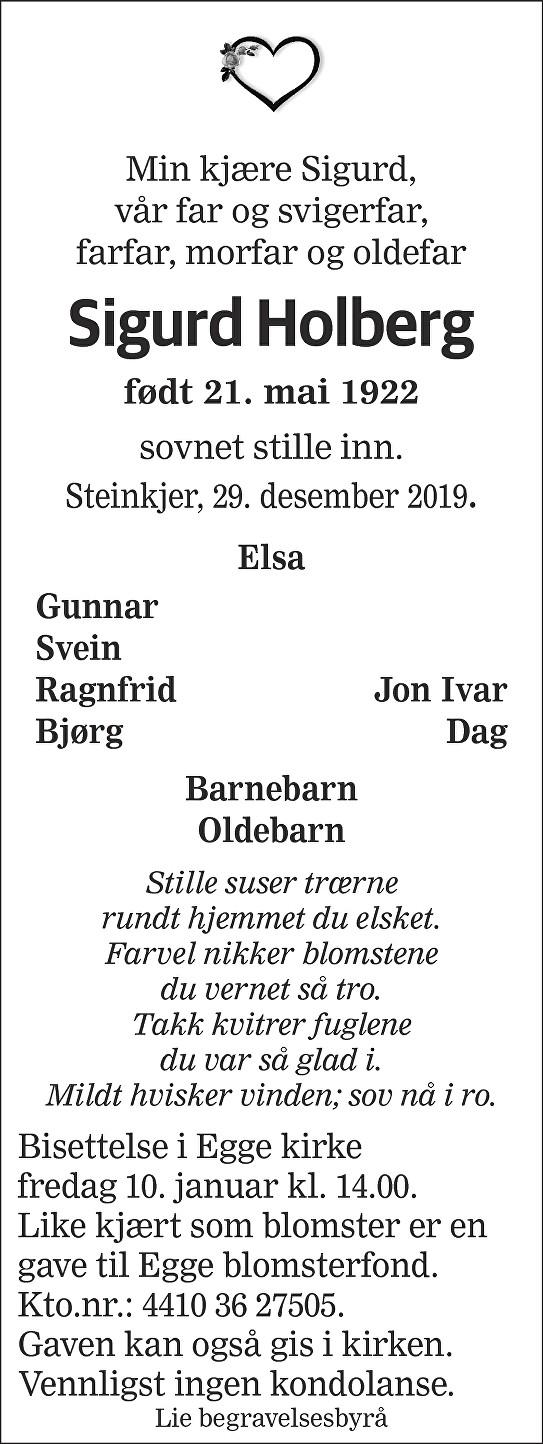 Sigurd Holberg Dødsannonse