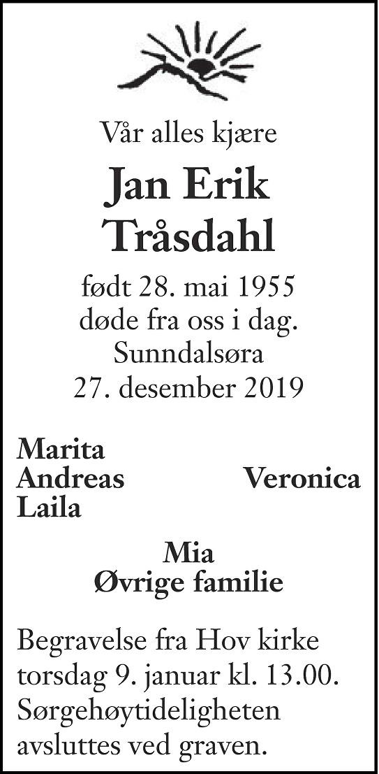 Jan Erik Tråsdahl Dødsannonse
