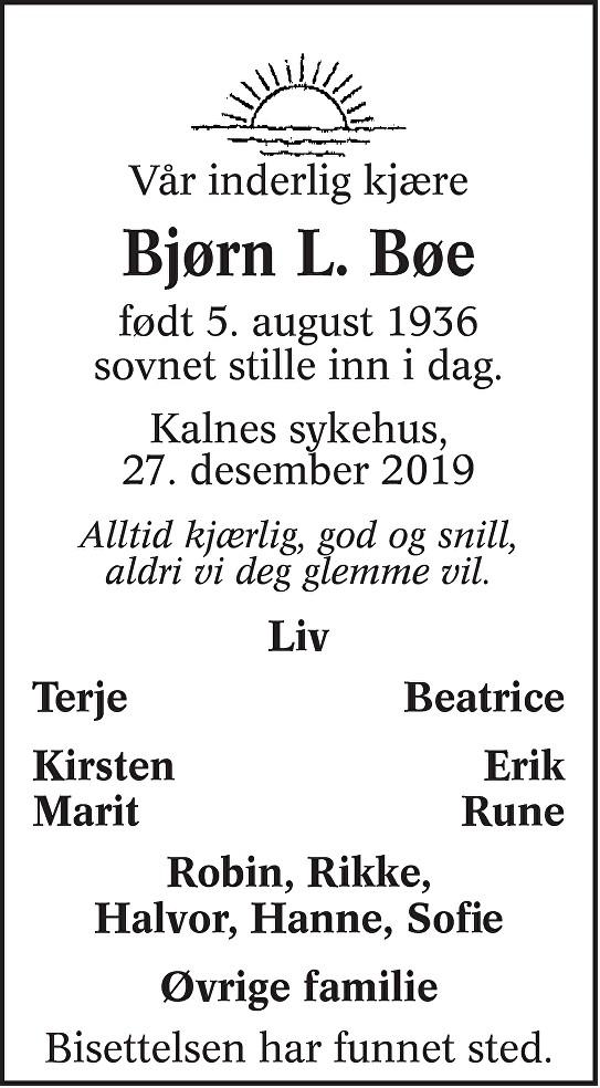 Bjørn Lorang Bøe Dødsannonse