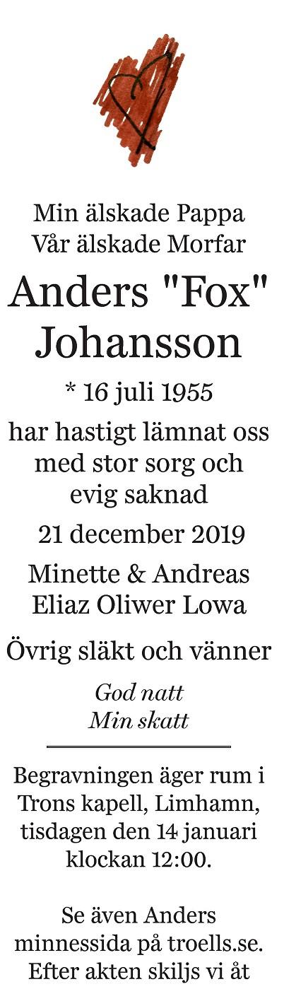 Anders Johansson Death notice