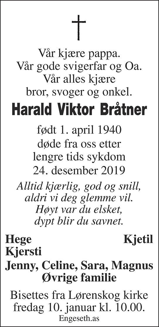 Harald Viktor Bråtner Dødsannonse