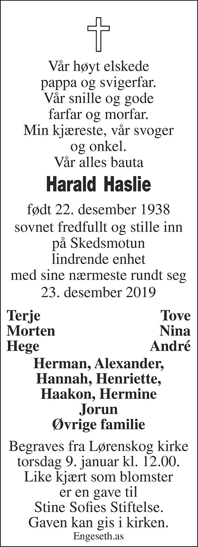 Harald Haslie Dødsannonse