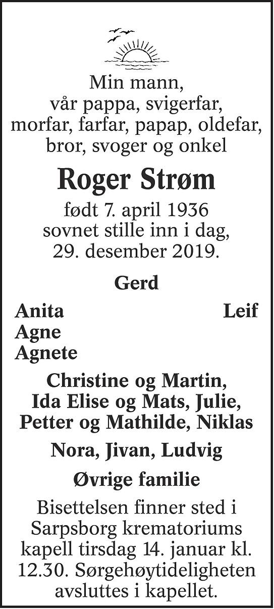 Roger Øistein Strøm Dødsannonse