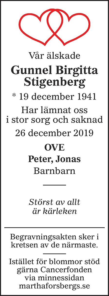Gunnel Birgitta Stigenberg Death notice