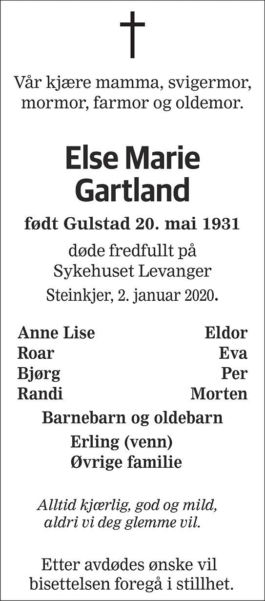 Else Marie Gartland Dødsannonse