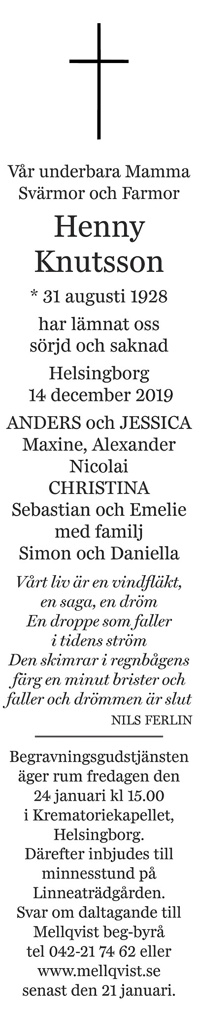 Henny Knutsson Death notice