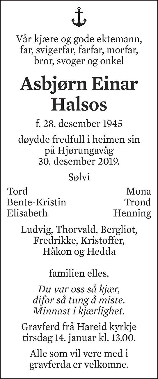 Asbjørn Einar Halsos Dødsannonse