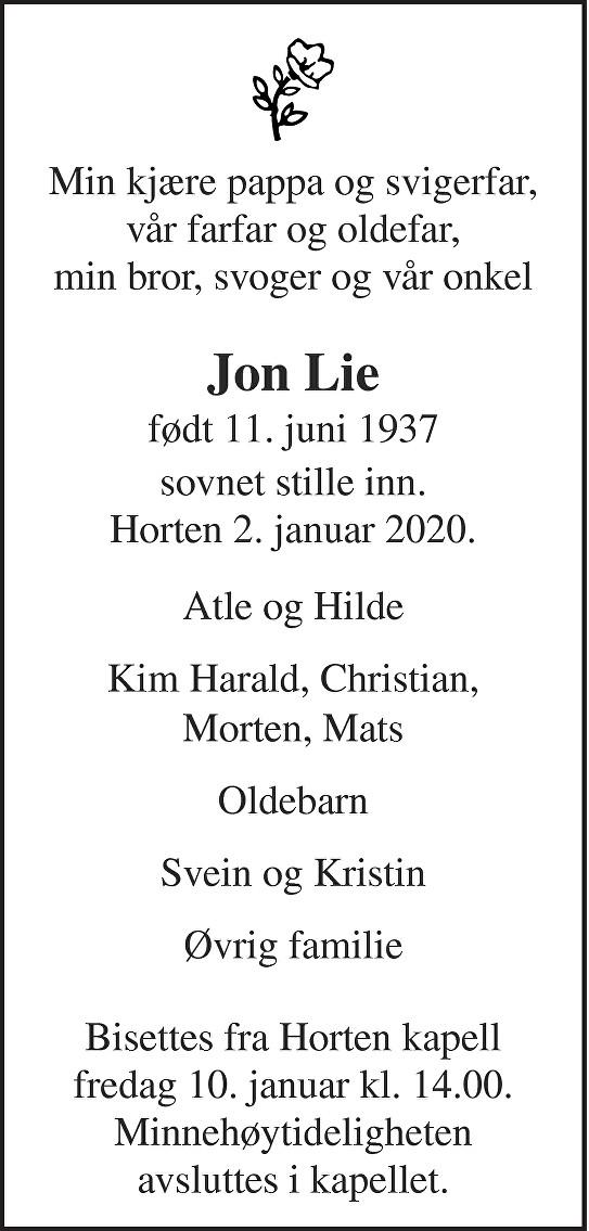 Jon Lie Dødsannonse
