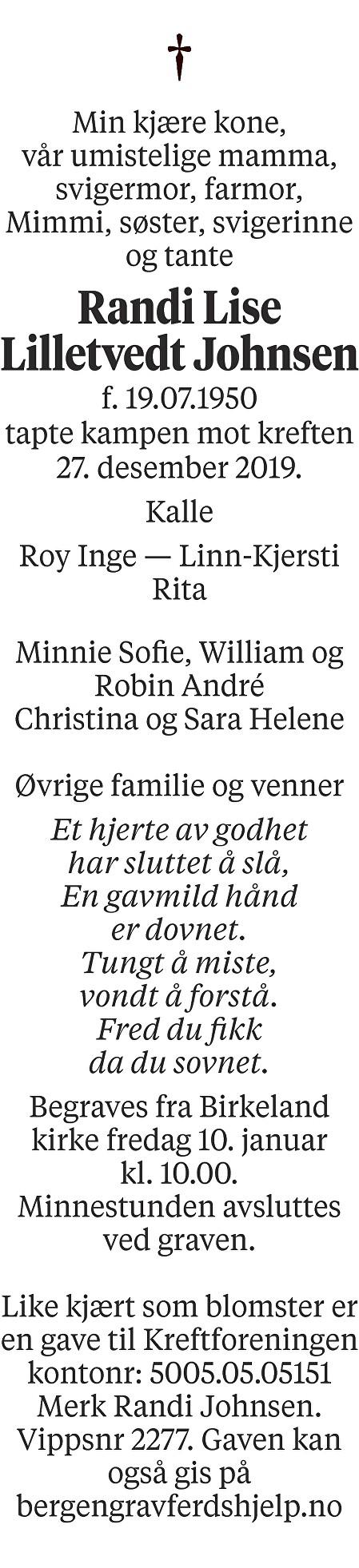 Randi Lise Lilletvedt Johnsen  Dødsannonse