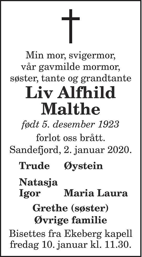 Liv Alfhild Malthe Dødsannonse