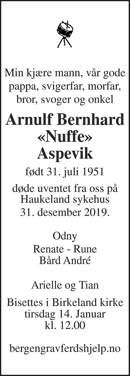 "Arnulf ""Nuffe"" Bernhard Aspevik Dødsannonse"