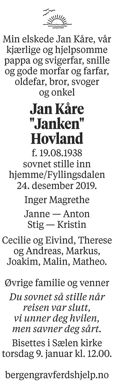 Jan Kåre  Hovland Dødsannonse