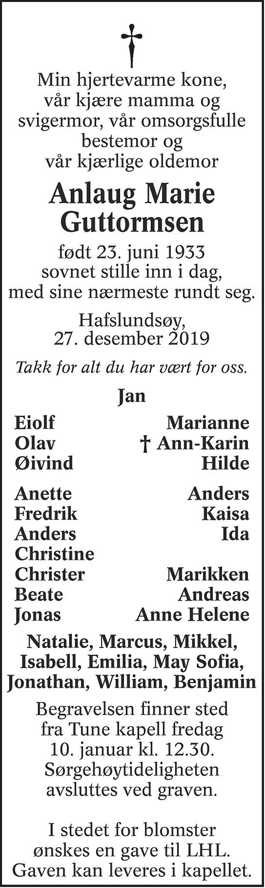 Anlaug Marie Guttormsen Dødsannonse