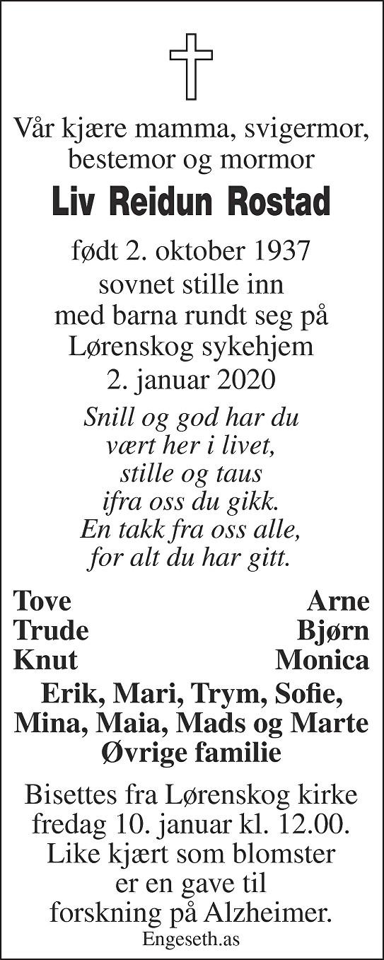 Liv Reidun Rostad Dødsannonse