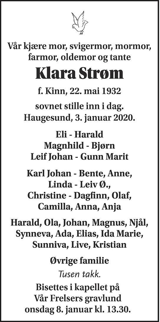 Klara Strøm Dødsannonse