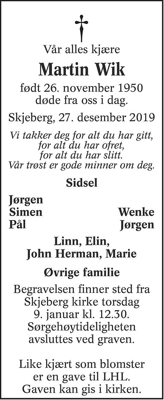 Martin Wik Dødsannonse