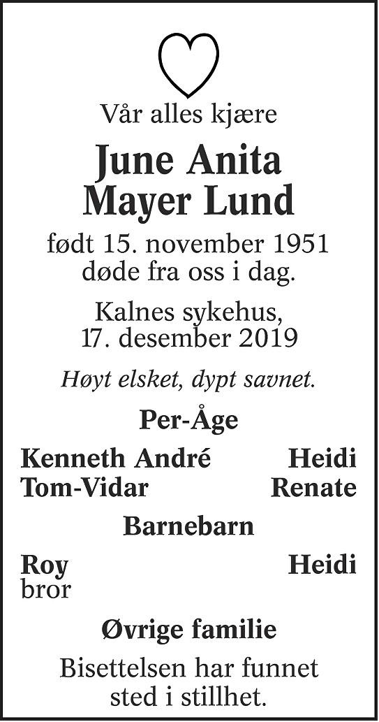 June Anita Mayer Lund Dødsannonse