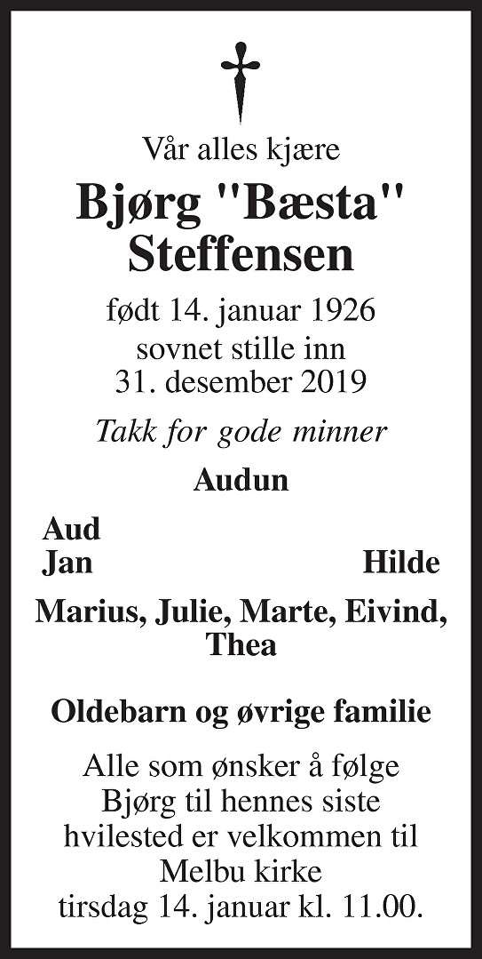 Bjørg Johanne Steffensen Dødsannonse