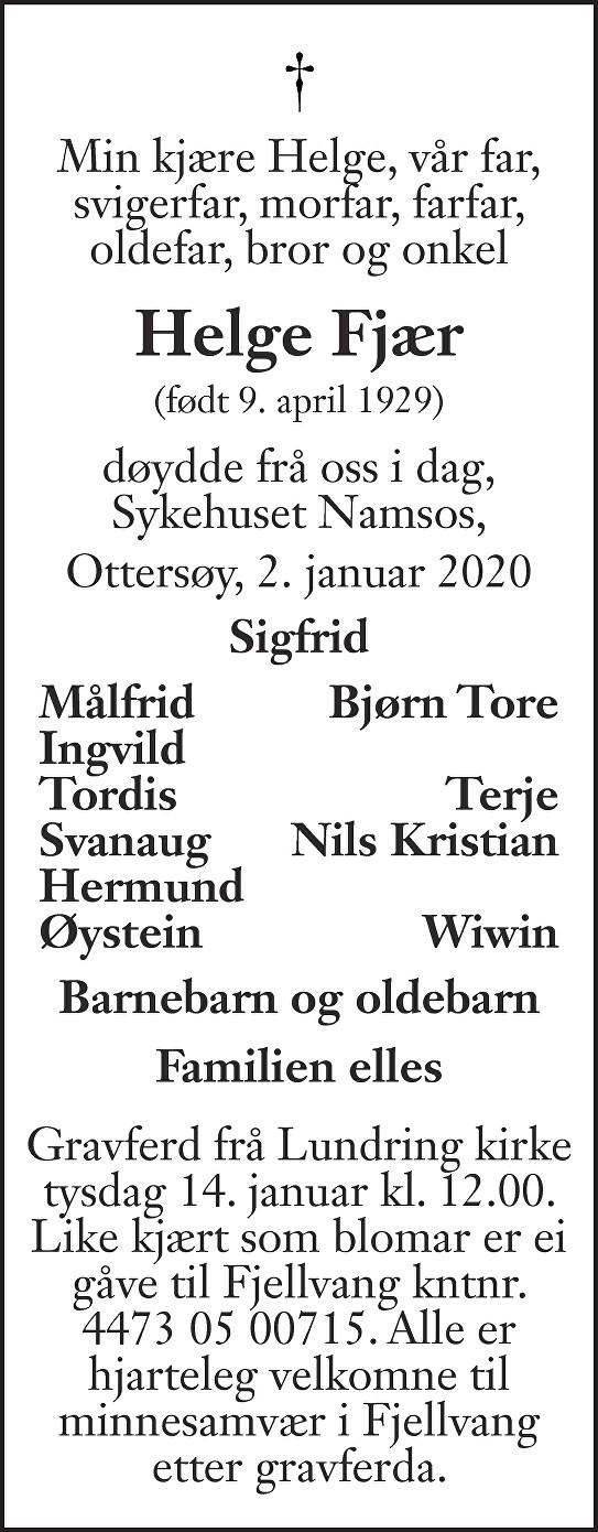 Helge Fjær Dødsannonse