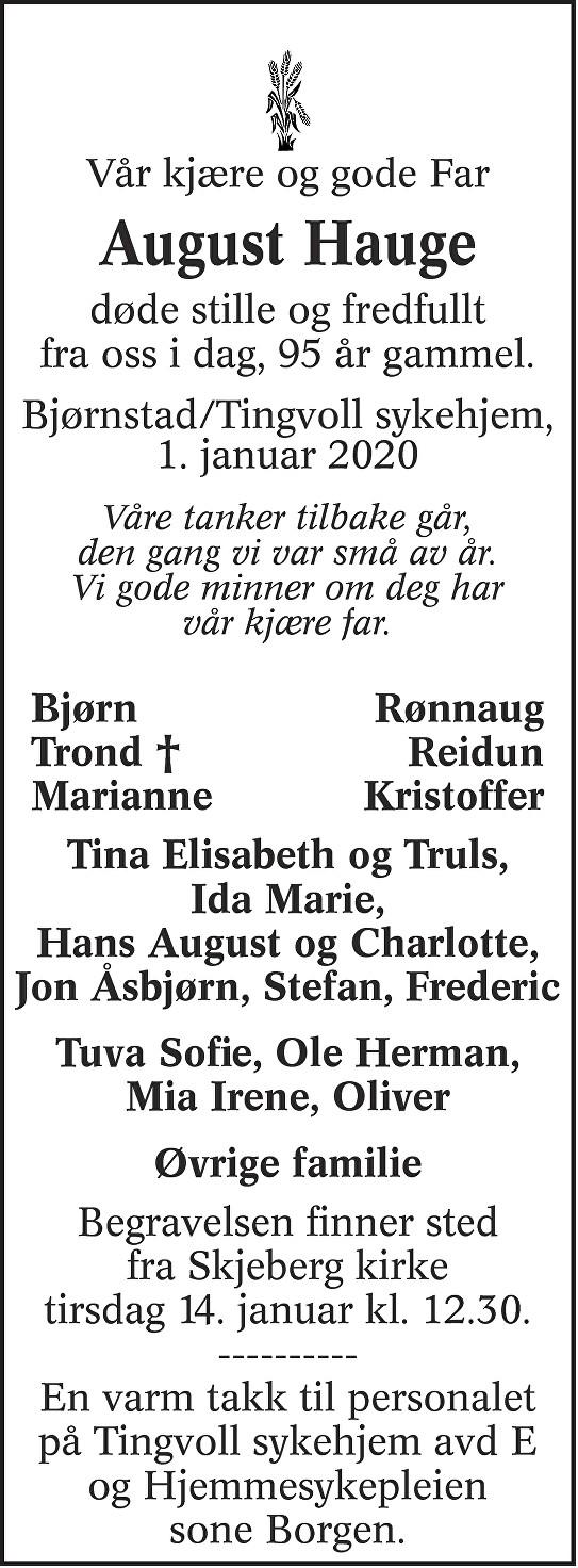 August Hauge Dødsannonse