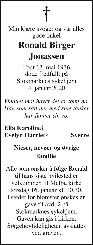 Ronald Birger Jonassen Dødsannonse