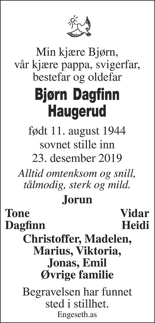 Bjørn Dagfinn Haugerud Dødsannonse