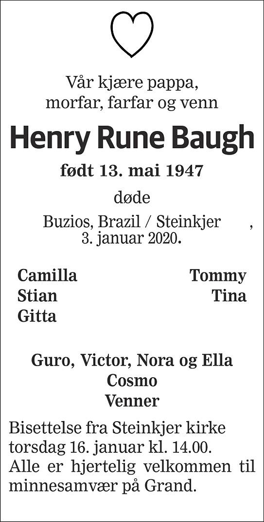 Henry Rune Baugh Dødsannonse