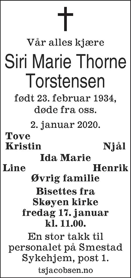 Siri Marie Torstensen Dødsannonse