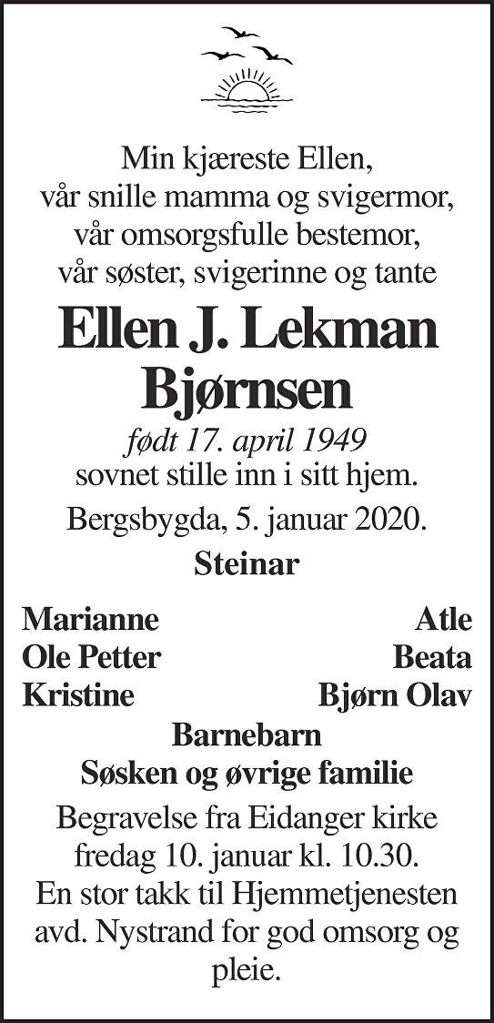 Ellen J. Lekman Bjørnsen Dødsannonse
