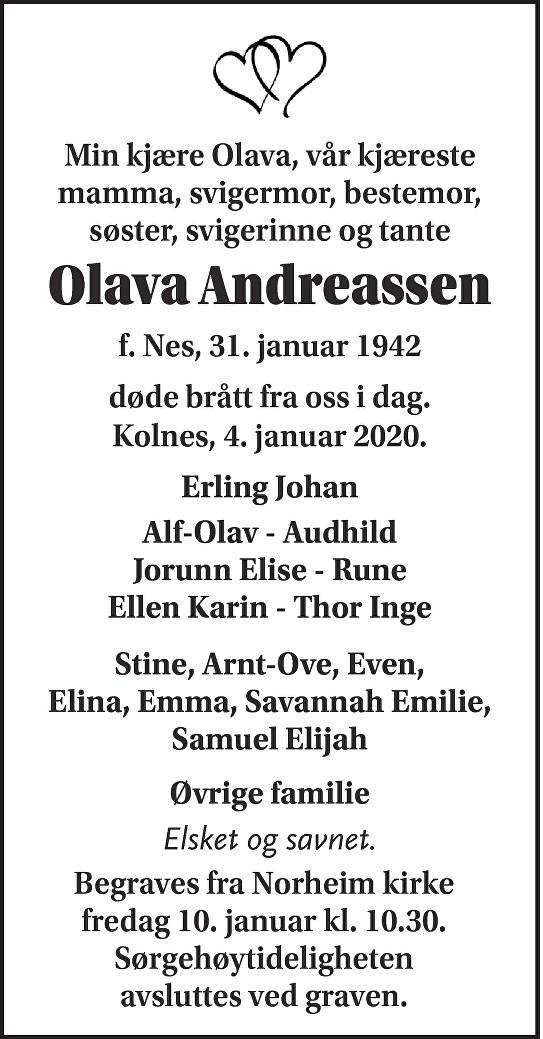 Olava Andreassen Dødsannonse