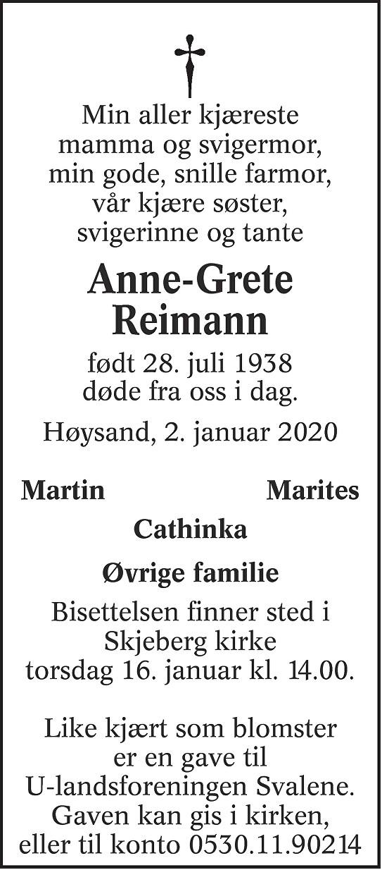 Anne-Grete Reimann Dødsannonse
