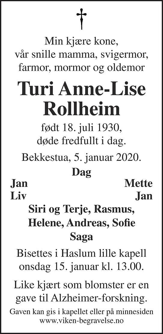 Turi Anne-Lise Rollheim Dødsannonse