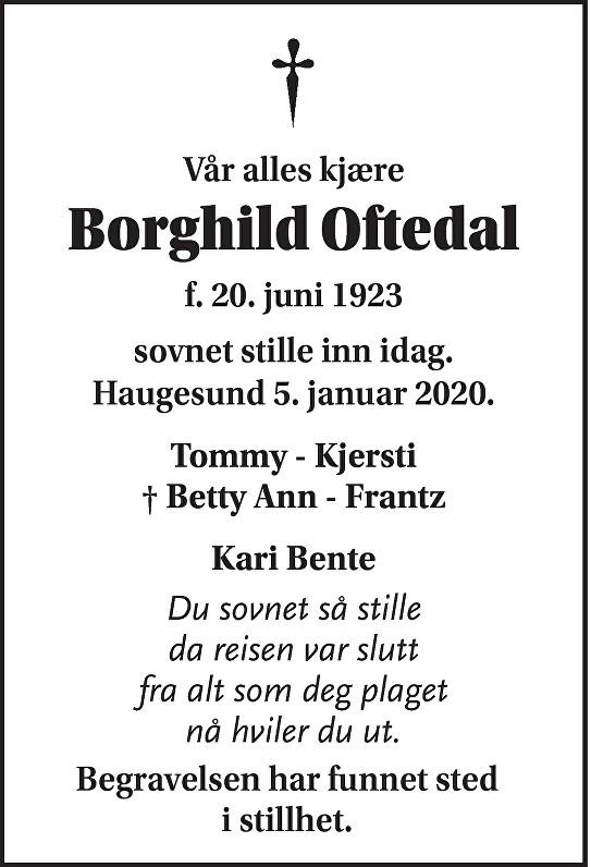 Borghild Oftedal Dødsannonse