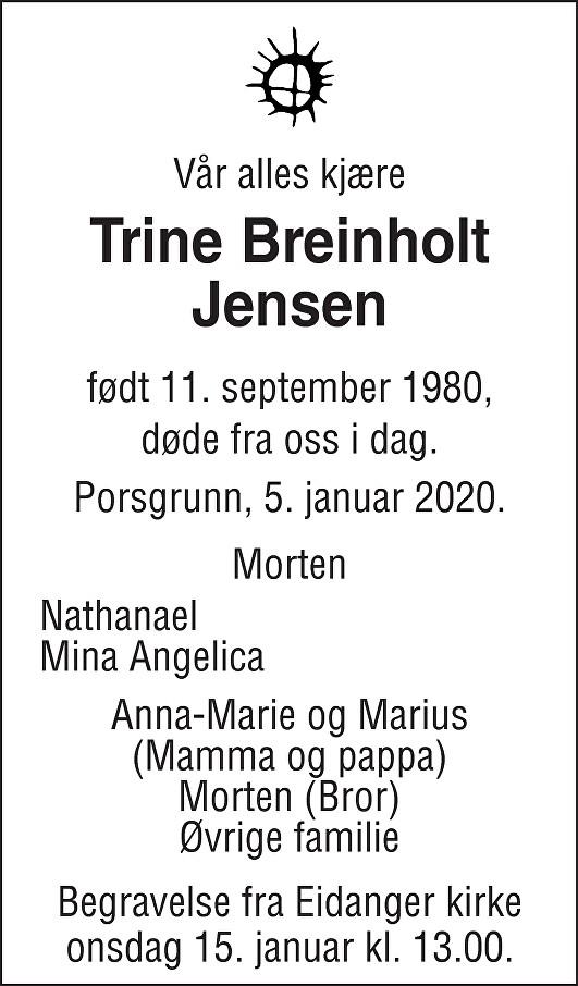Trine Breinholt Jensen Dødsannonse