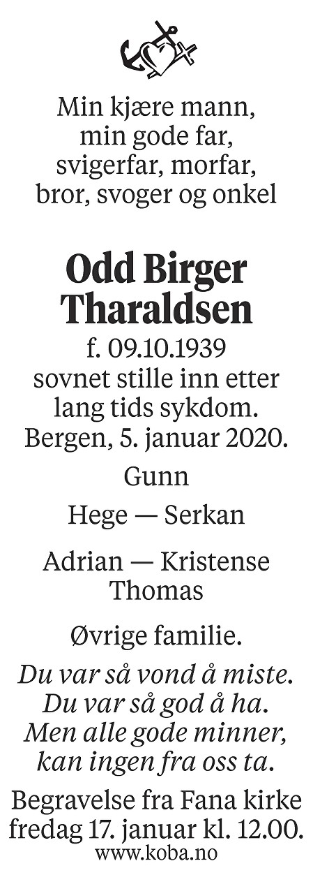 Odd Birger Tharaldsen Dødsannonse