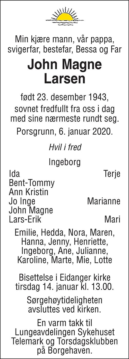 John Magne Larsen Dødsannonse