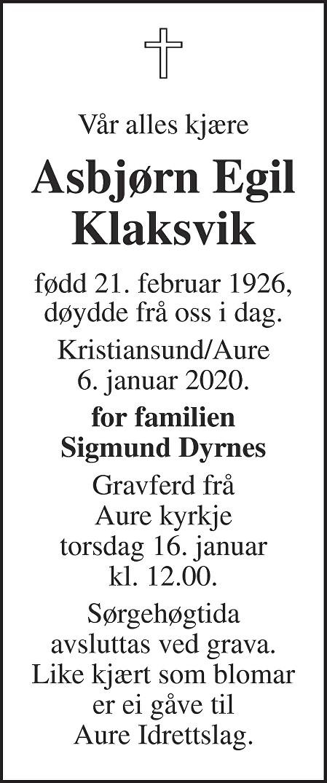 Asbjørn Egil Klaksvik Dødsannonse