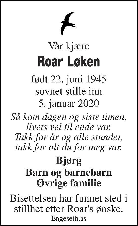 Roar Løken Dødsannonse