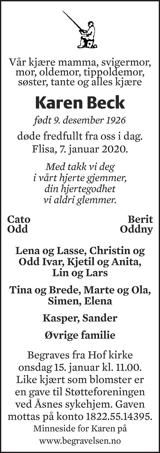 Karen Beck Dødsannonse