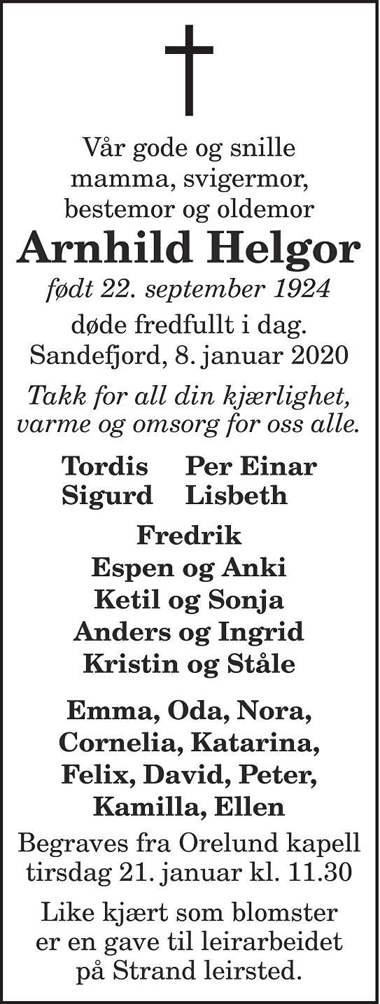 Arnhild Helgor Dødsannonse