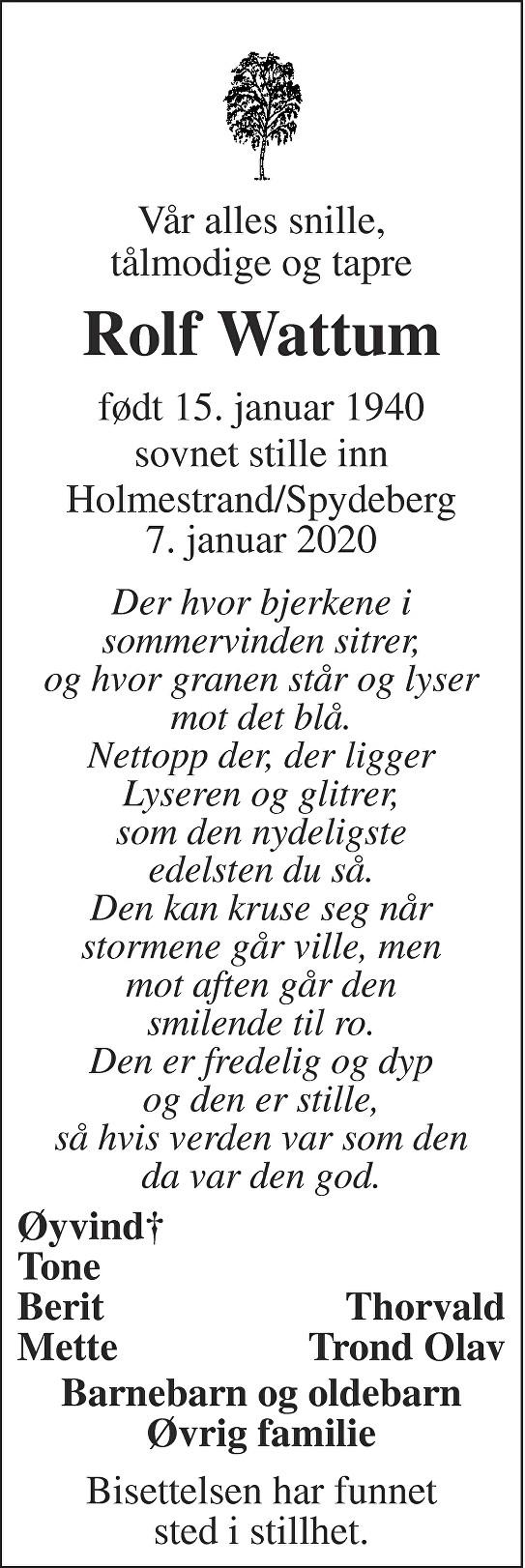 Rolf Wattum Dødsannonse