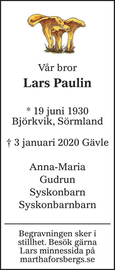Lars Paulin Death notice