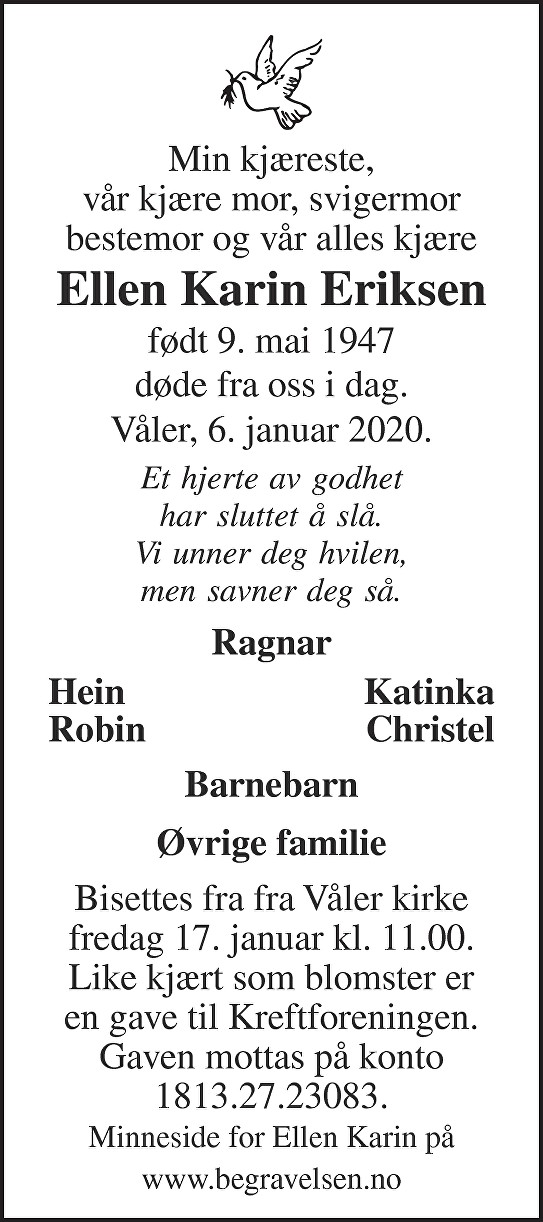 Ellen Karin Eriksen Dødsannonse