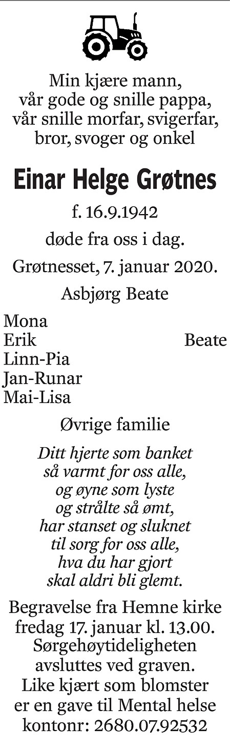 Einar Helge Grøtnes Dødsannonse