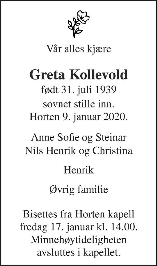 Greta Kollevold Dødsannonse