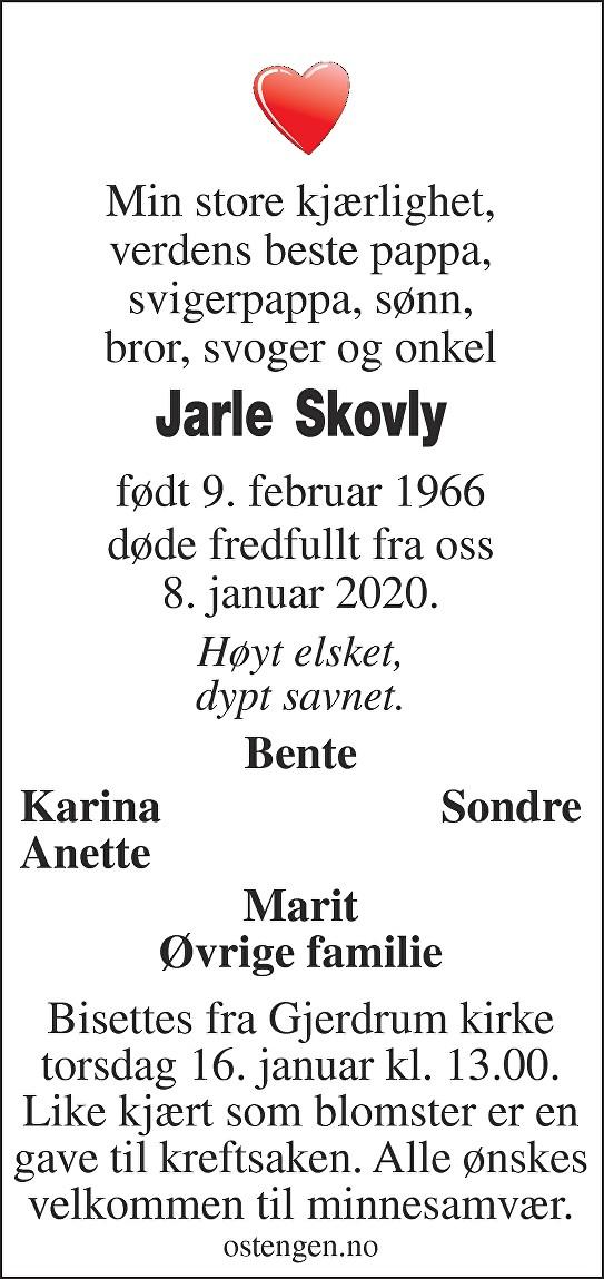 Jarle Skovly Dødsannonse